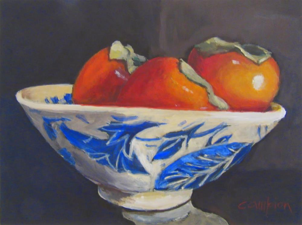 """506.  Persimmons in a Blue and White Bowl"" original fine art by Diane Campion"