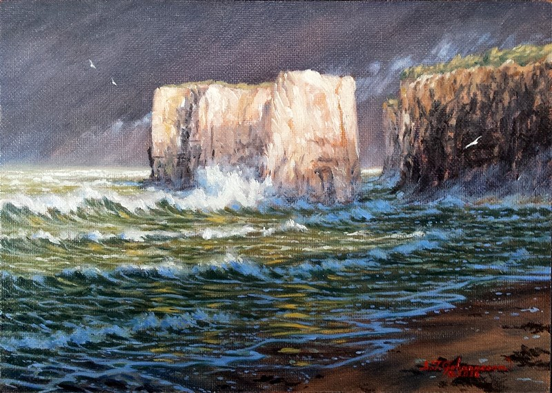 """C1619 ""Storm over Botany Bay"" (Isle of Thanet, Kent, England)"" original fine art by Steven Thor Johanneson"