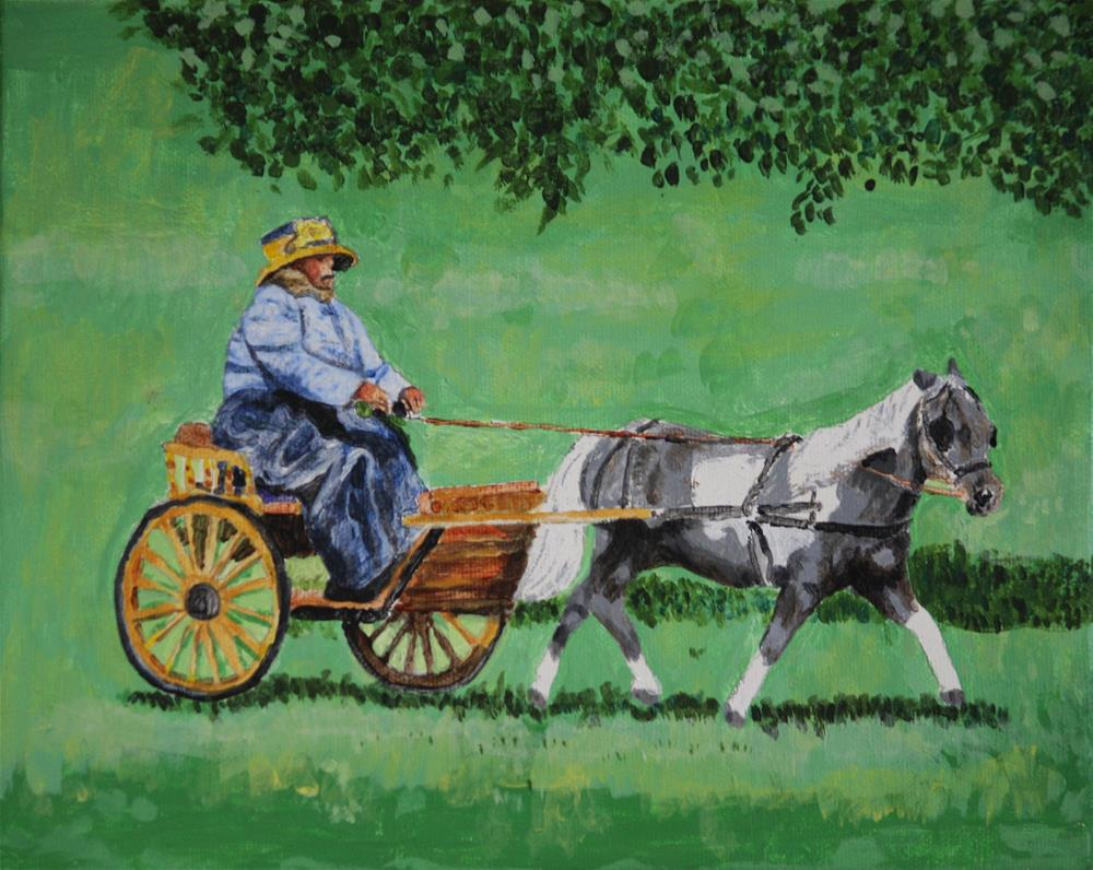 """""""Pony and Antique Carriage"""" original fine art by Terri-Anne Barge"""