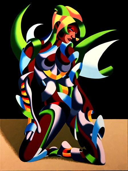 """Mark Adam Webster - Adrina 3201 - Abstract Geometric Futurist Figurative Oil Painting"" original fine art by Mark Webster"