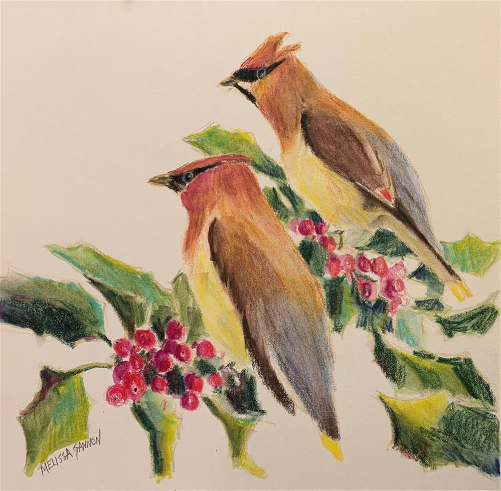 """""""Waxwings in the Holly"""" original fine art by Melissa Gannon"""