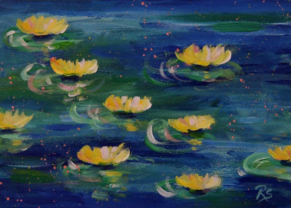 """Lilies on the Pond"" original fine art by Roberta Schmidt"