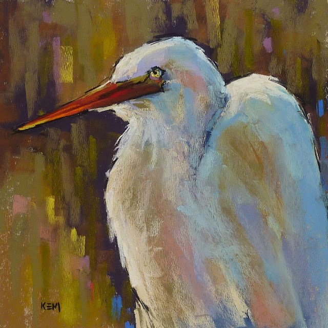 """Pastel Demo...Great White Egret in the Marsh"" original fine art by Karen Margulis"