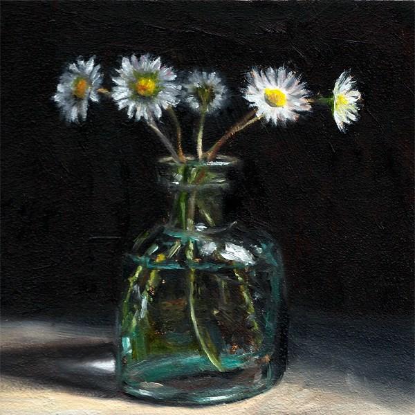 """Daisies in an antique ink bottle"" original fine art by Peter J Sandford"