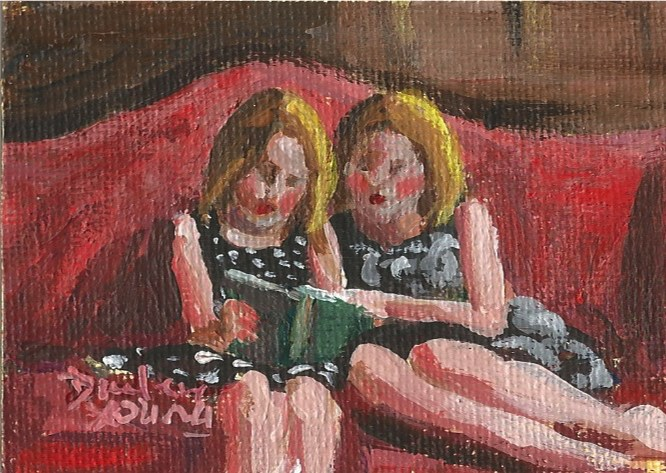 """933 Reading Together, oil on board, 2.5x3.5"" original fine art by Darlene Young"
