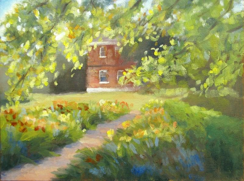 """""""Garden in Afternoon Light"""" original fine art by Keiko Richter"""