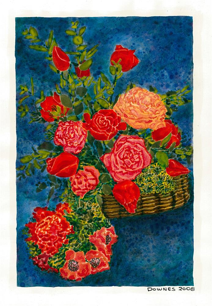 """205 CLASSIC FLOWERS 7"" original fine art by Trevor Downes"