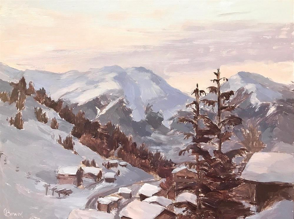 """""""La Plagne, The Alps"""" original fine art by Clare Bowen"""