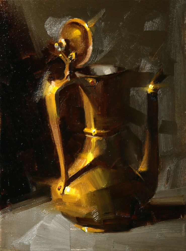 """Brass Kettle"" original fine art by Qiang Huang"