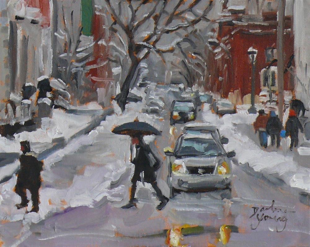 """""""916 Montreal Winter Scene, Av du Musee, oil on board, 8x10"""" original fine art by Darlene Young"""