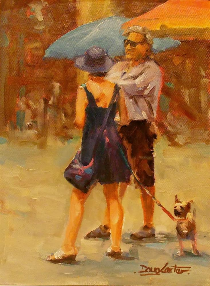 """ WALKING THE DOG "" original fine art by Doug Carter"