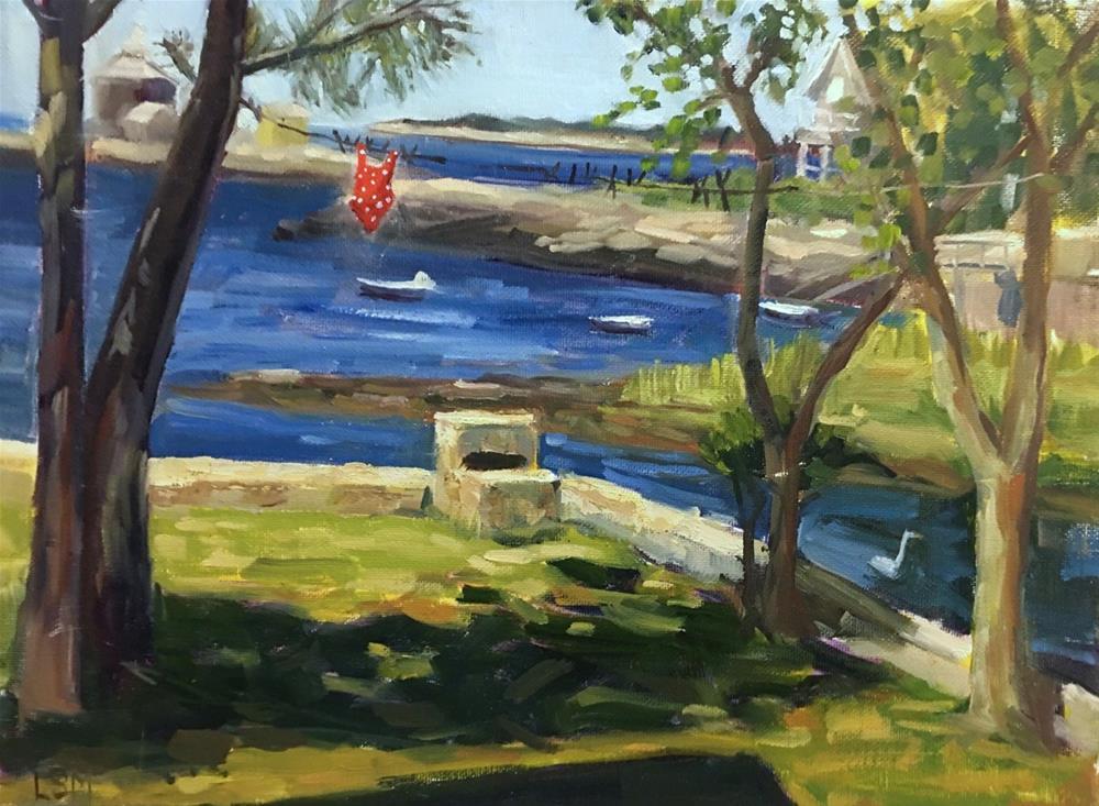 """Red Polka Dot Bathing Suit - thimble Islands, Branford, CT"" original fine art by Linda Marino"