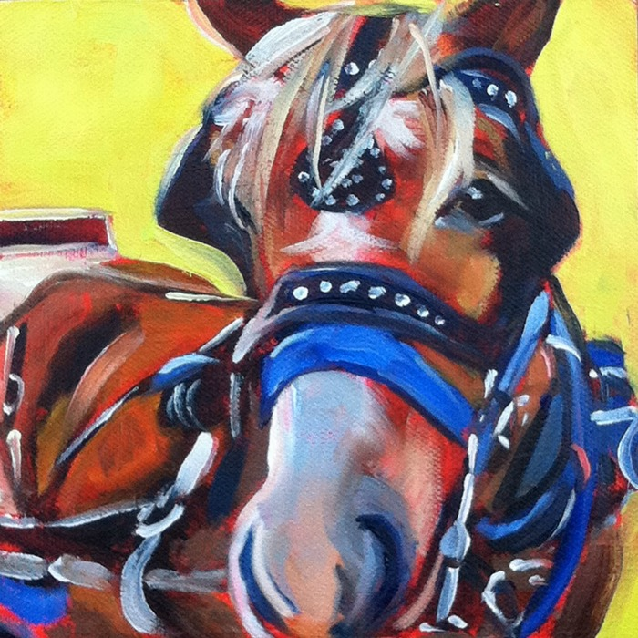 """""""Carriage Horse, oil on ray mar, 6x6"""" original fine art by Darlene Young"""
