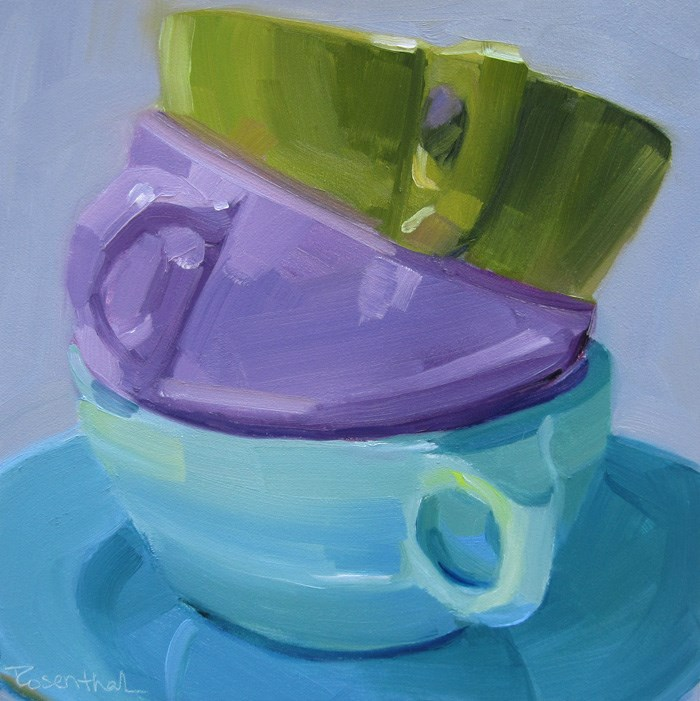 """""""Three Stacked Cups Revisited"""" original fine art by Robin Rosenthal"""