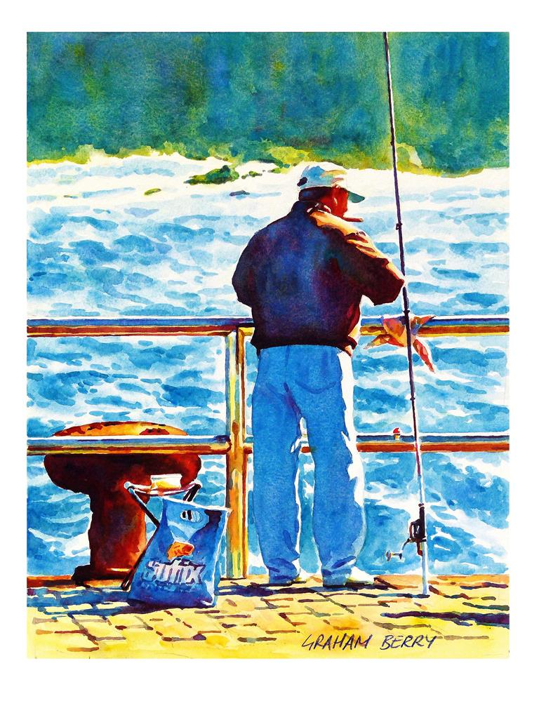 """Breezy morning fishing."" original fine art by Graham Berry"