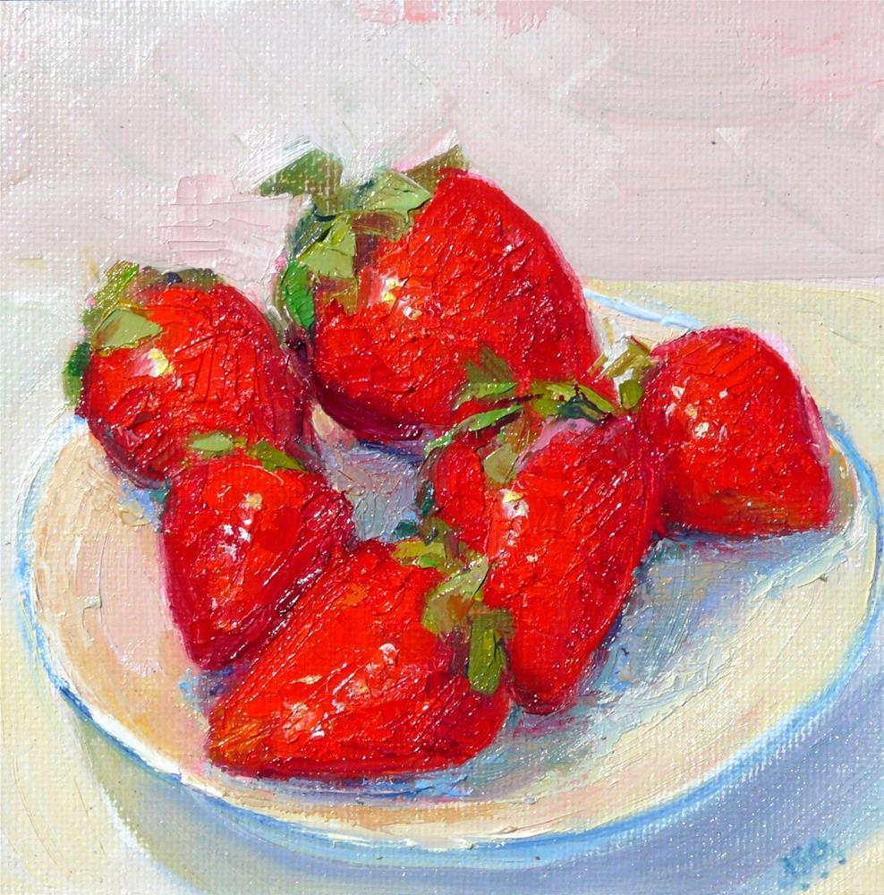 """Strawberries on a Saucer,still life,oil on canvas,6x6,$200"" original fine art by Joy Olney"