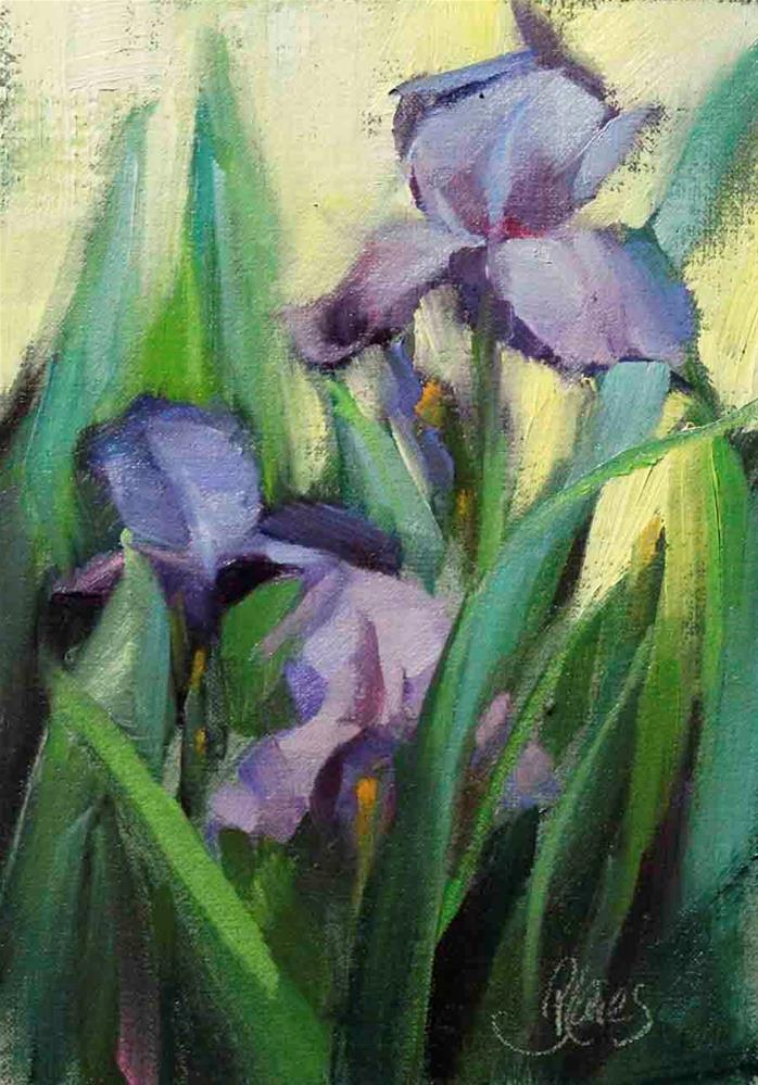 """Plein Air Irises"" original fine art by Pamela Blaies"