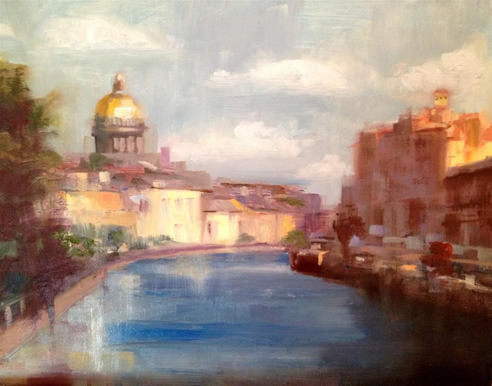 """""""Morning, Neva River, 10x8"""" original fine art by Ann Feldman"""
