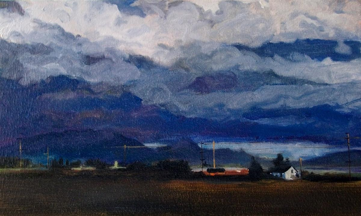 """""""Clouds over LaConner  oil landscape painting, tulip festival"""" original fine art by Robin Weiss"""