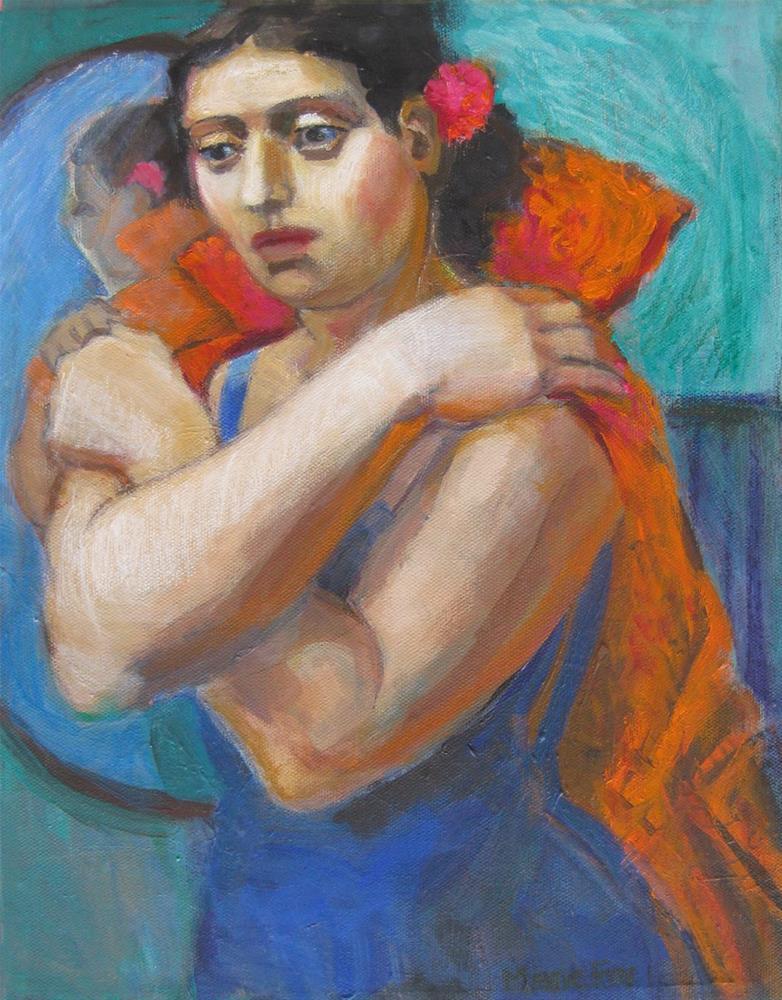 """Dancer, woman about to go dancing, figurative female, contemporary figure art of women, figuration w"" original fine art by Marie Fox"