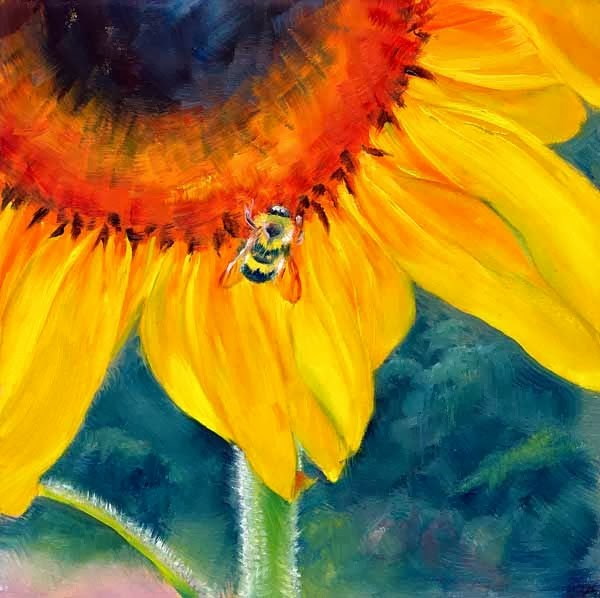 """""""Don't Worry Bee Happy"""" original fine art by Brenda Ferguson"""
