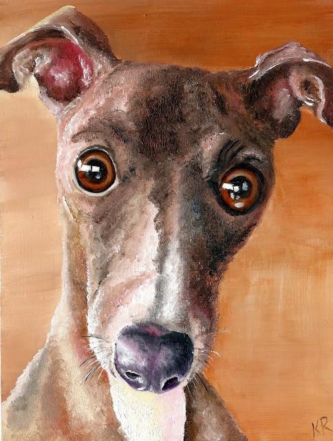 """""""Greyhound 2 - Santa's Little Helper"""" original fine art by Karen Robinson"""