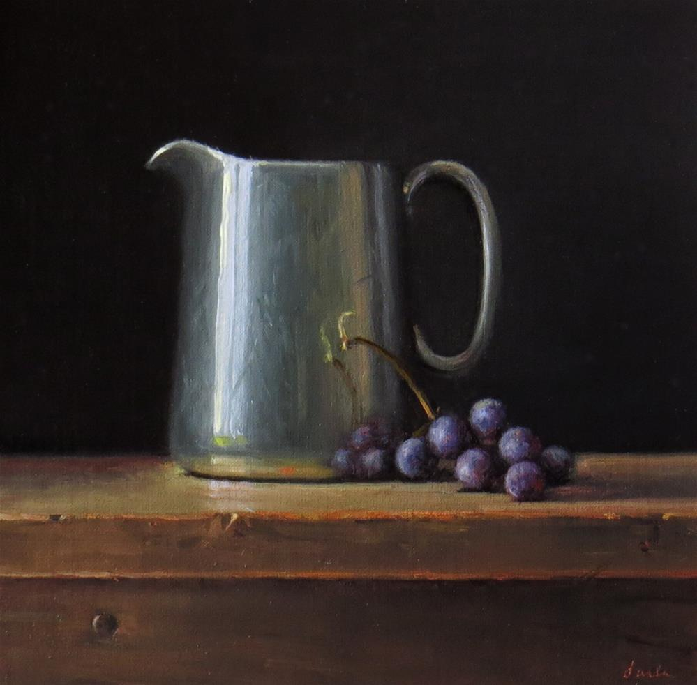 """Sterling Cream Pitcher with Thomcord Grapes"" original fine art by Darla McDowell"