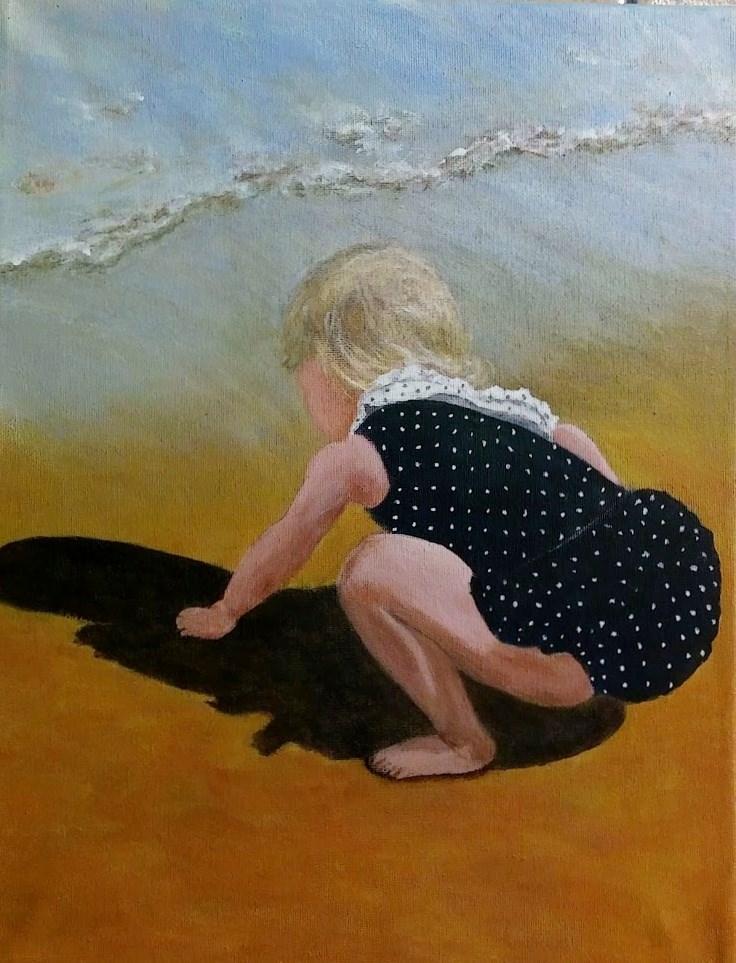 """Playing in Beach Sand"" original fine art by Cathy Dykstra"