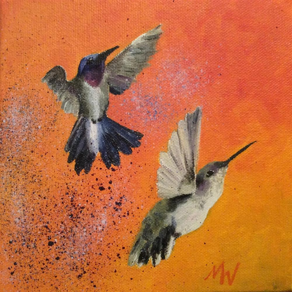 """Black-Chinned Hummer Couple"" original fine art by Michelle Wolfe"