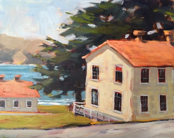 """Fort Chronkite Buildings"" original fine art by Deborah Newman"