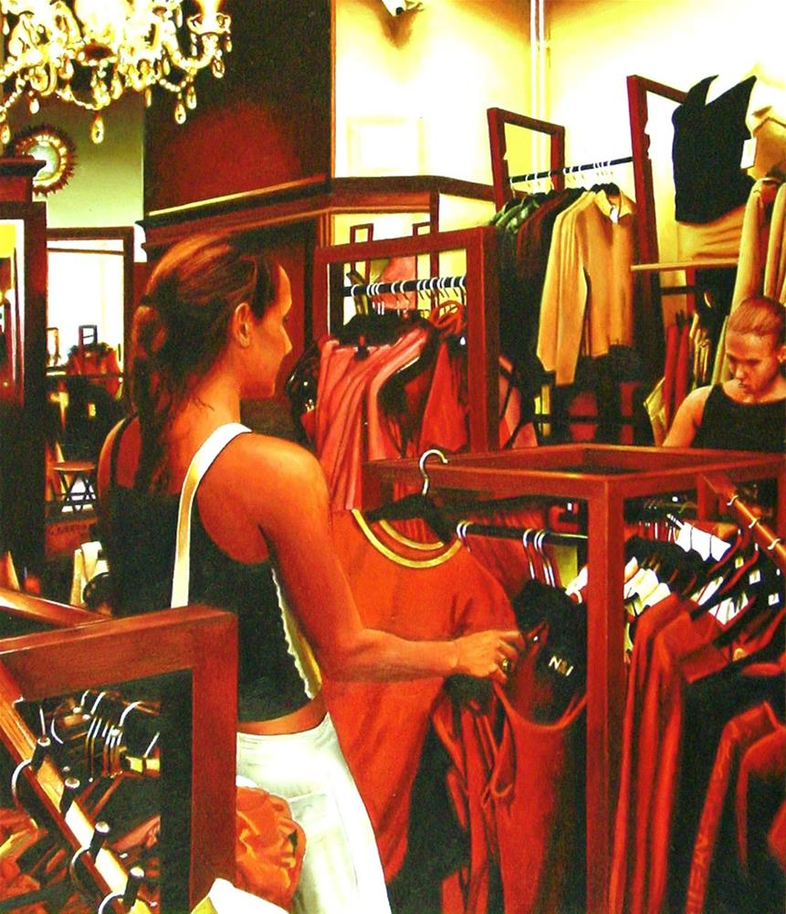 """""""Outfit- Painting Of Two Women In Clothing Store"""" original fine art by Gerard Boersma"""