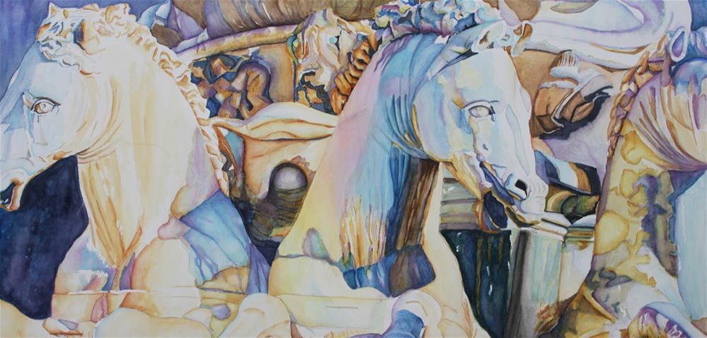 """Neptune's Sea Horses- Florence, Italy"" original fine art by Christiane Kingsley"