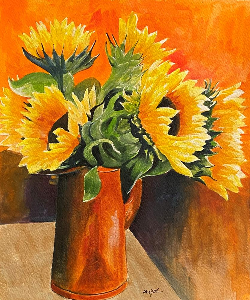 """""""SUNFLOWERS IN COPPER POT"""" original fine art by Bunny Griffeth"""