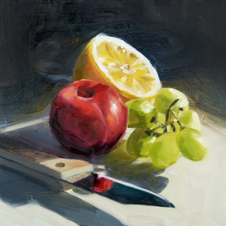 """""""Fruit with Knife"""" original fine art by Deb Anderson"""