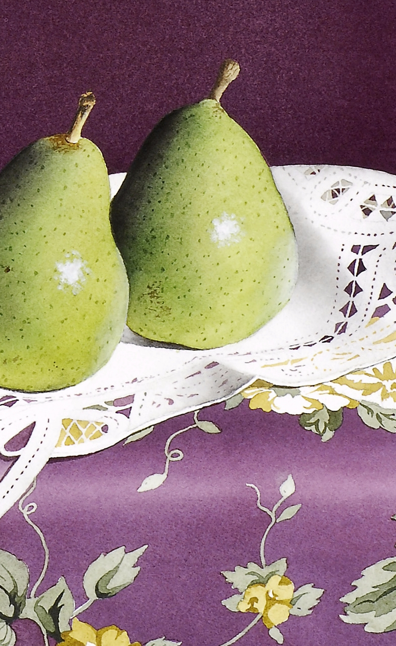 """""""Pears and Lace"""" original fine art by Jacqueline Gnott, TWSA, WHS"""