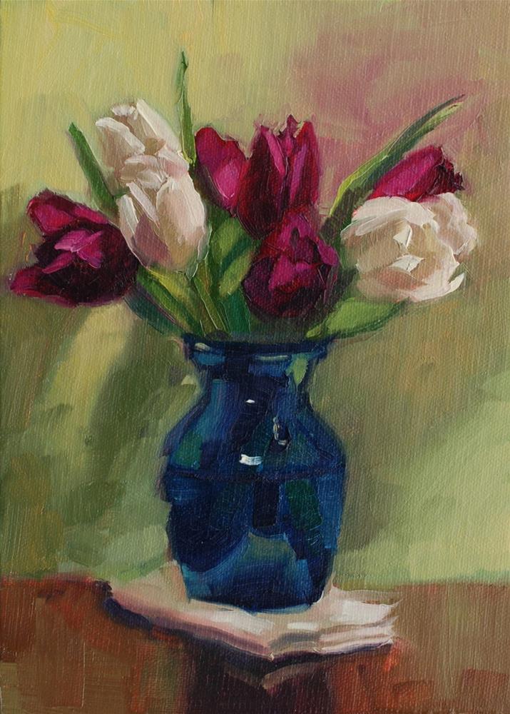 """""""No. 711 Blue Vase with Tulips"""" original fine art by Susan McManamen"""