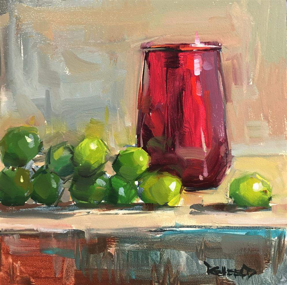 """""""Red Glass and Green Grapes"""" original fine art by Cathleen Rehfeld"""