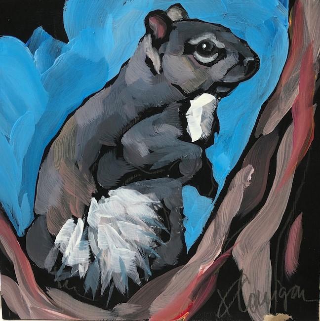 """Squirrel On Blue"" original fine art by Kat Corrigan"