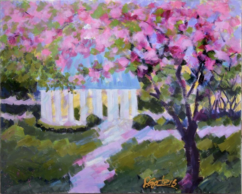 """""""Pink Springhouse with Lavender"""" original fine art by Pamela Gatens"""