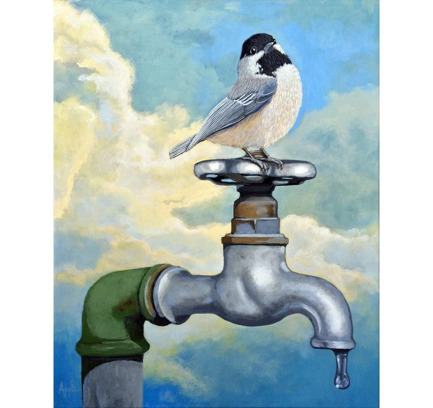 """Chickadee realistic bird portrait on old water faucet- large 16 x 20 original painting"" original fine art by Linda Apple"
