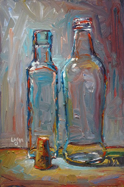 """Two Bottles and Cork"" original fine art by Raymond Logan"