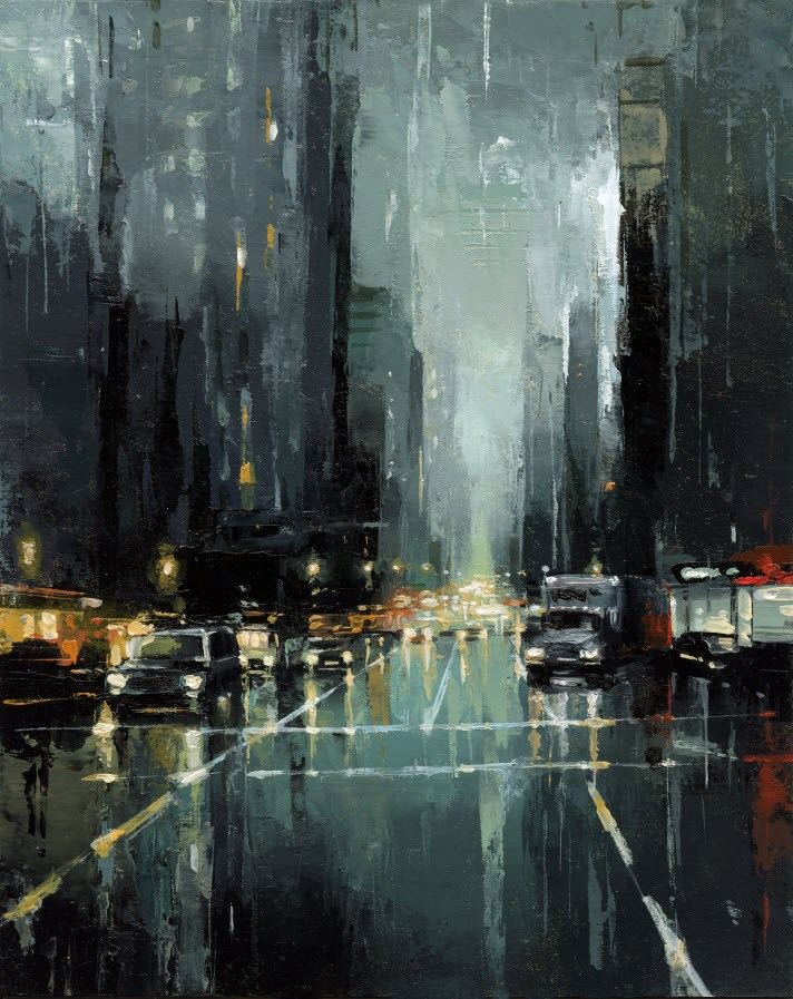 """""""Moving Truck NYC - III"""" original fine art by Victor Bauer"""
