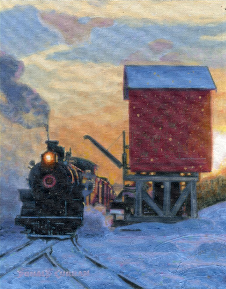 """Railroad Train"" original fine art by Donald Curran"