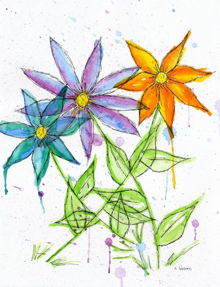 """Three Flowers in the Rain"" original fine art by Kali Parsons"