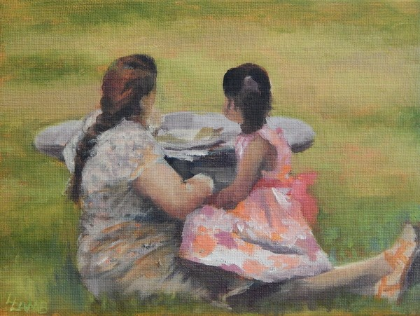 """Mother-Daughter Time"" original fine art by Lori L. Lamb"