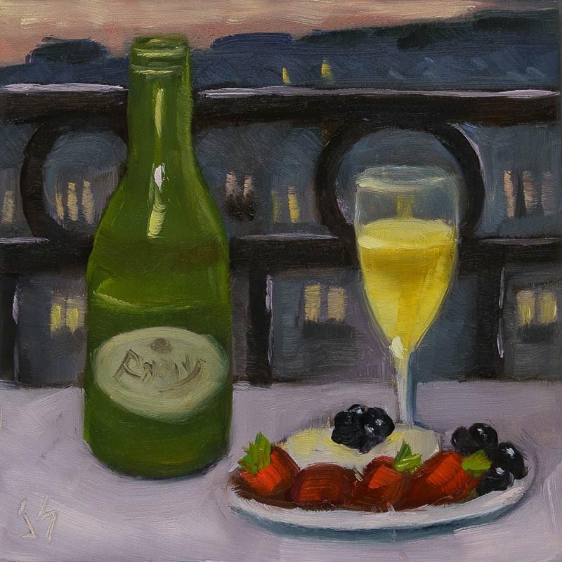"""""""Nightfall in Paris"""" original fine art by Johnna Schelling"""