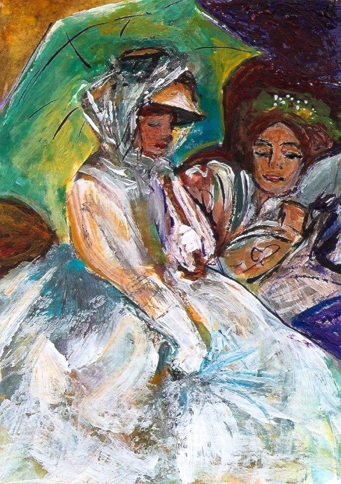 """""""ACEO Two Women Umbrellas in the Style of John Singer Sargent Penny StewArt"""" original fine art by Penny Lee StewArt"""