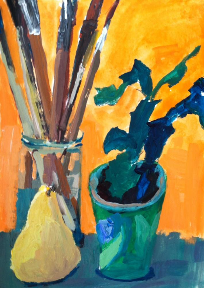 """""""Still life with Pear and Artists Brushes"""" original fine art by Christine Parker"""