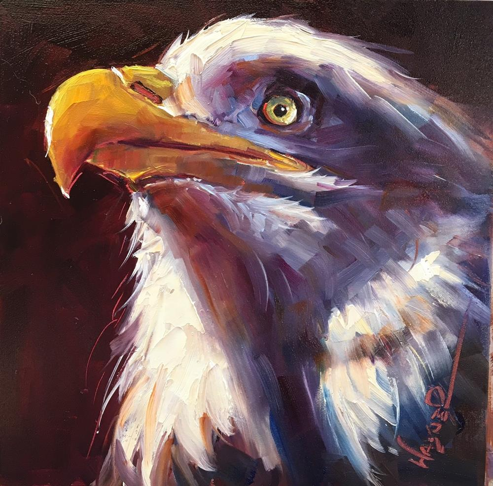 """ORIGINAL CONTEMPORARY BALD EAGLE Painting on Panel  in OILS by OLGA WAGNER"" original fine art by Olga Wagner"