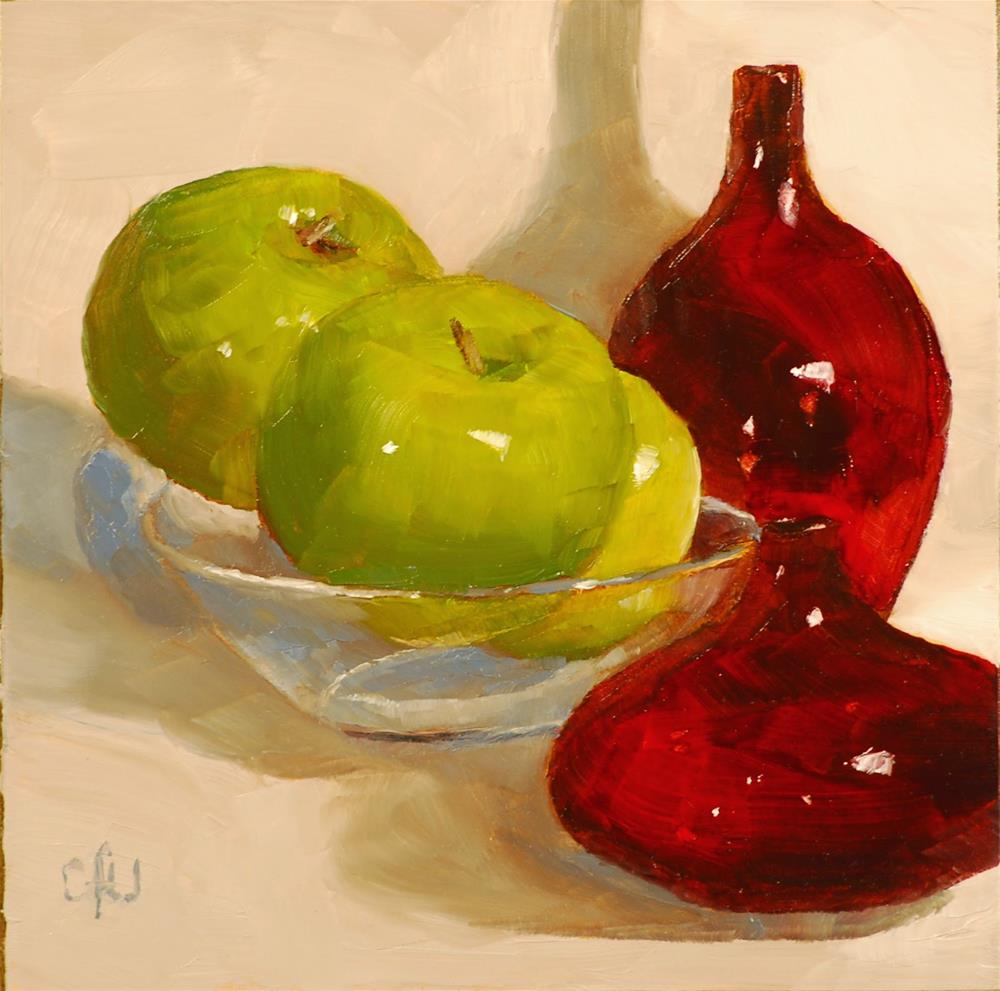 """""""Red Vases and Apples"""" original fine art by Gary Westlake"""